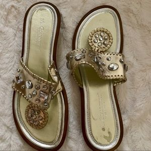 A. Giannetti gold embellished Italian made sandals